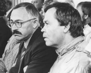 Дни советской литературы в Пензенской области. Справа В. Г. Распутин. Слева В. Ю. Сухнев.1985