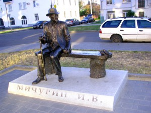 Памятник селекционеру Ивану Мичурину на вокзале в Мичуринске. Фото - Юлия Руденко.